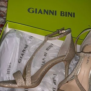 Gold sparkling heels only worn once